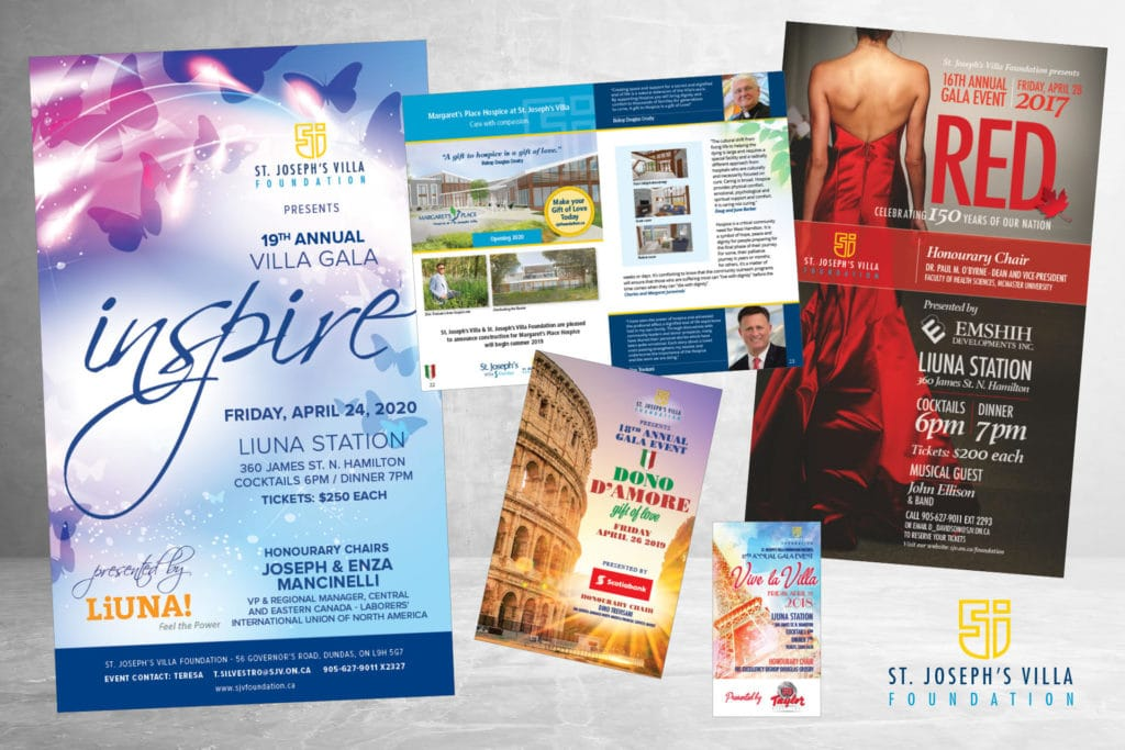 Various print and digital layouts for St. Joseph's Villa
