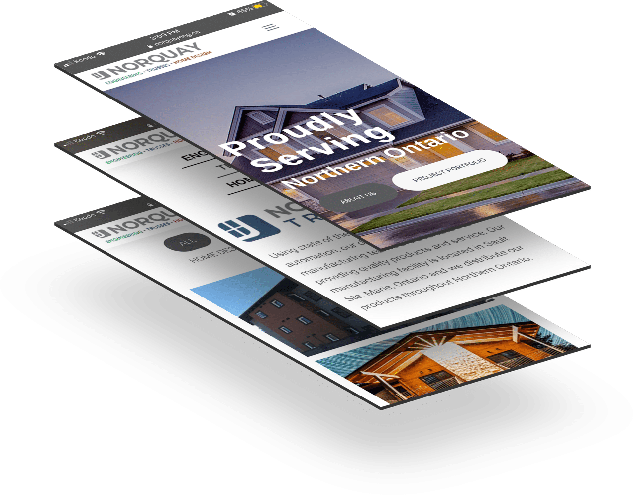 phone screens displaying pages from the Norquay website