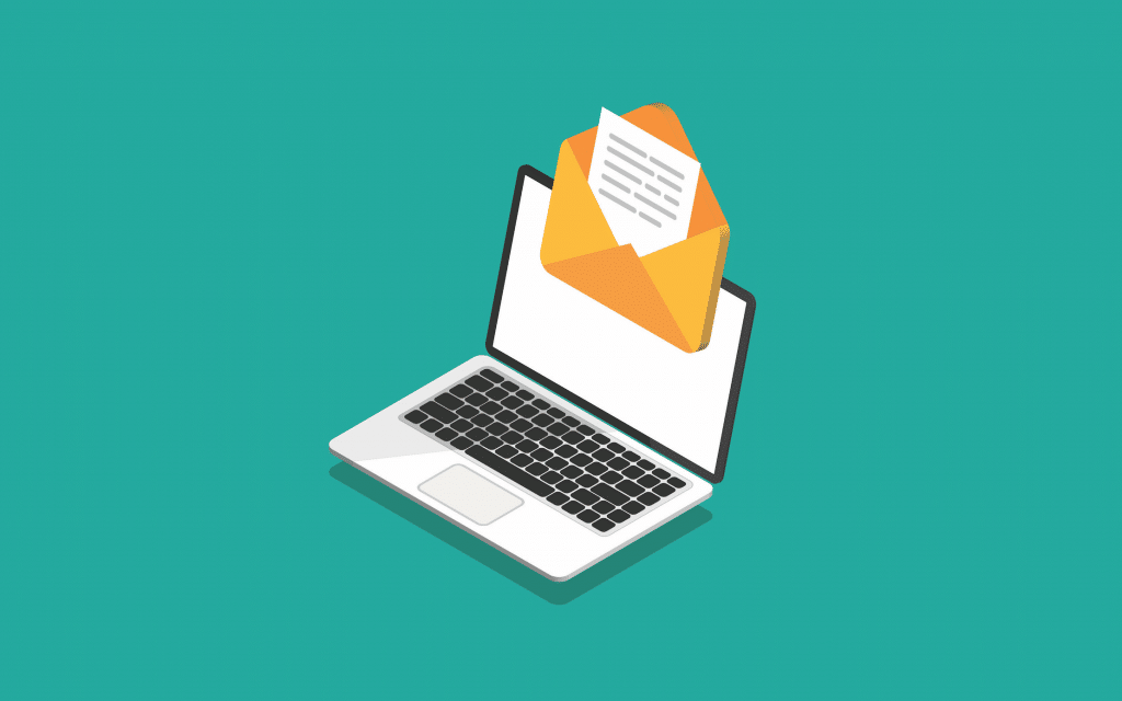 Illustration of an email alert showing up on a laptop
