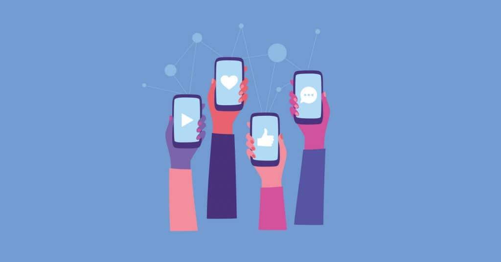 Illustration of hands holding mobile phones with different social media platforms