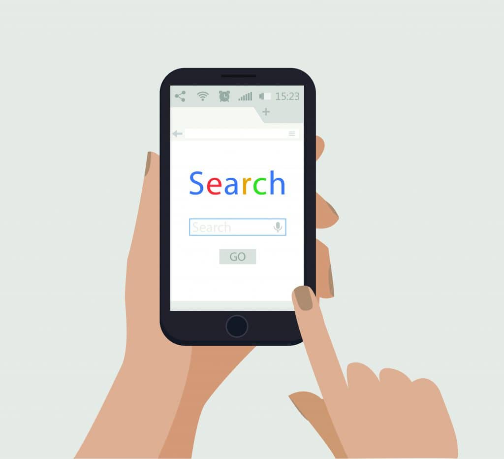 Completing a Google search on mobile